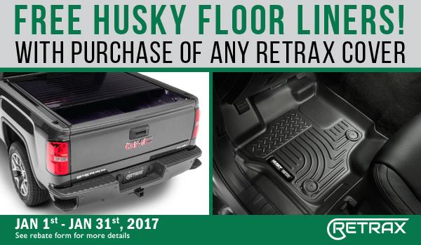 Retrax Covers rebate and husky liners canada